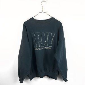 Army • Black Pullover Crewneck Sweatshirt.